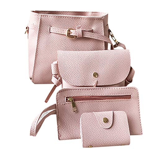 Women Teen Girls PU Leather 4pcs Set Backpack Purse Shoulder Bag Handbag Crossbody Bag Rucksack (Gray)