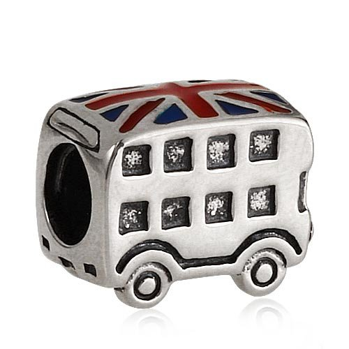 London Double Decker Bus Charm - 925 Sterling Silver British Flag Enamel Bead - for European Style by Travel Charms (Image #3)