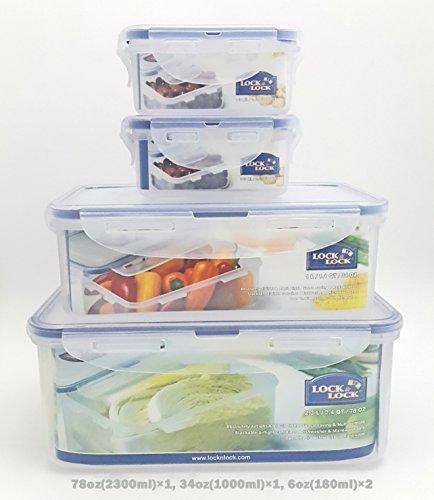 Lock & Lock Plastic Food Storage Airtight Container Set (2300ml/78oz+1000ml/34oz+(180ml/6oz×2)) (Locknlock Containers)