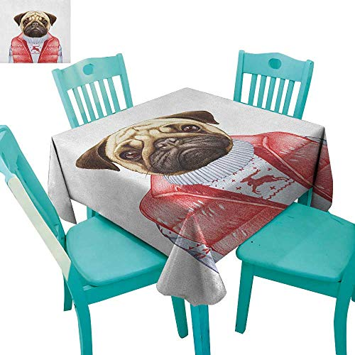 longbuyer Pug,Dinning Tabletop Decor,Red Vest and Christmas Sweater on a Adorable Dog Hand Drawn Animal Fun Image,70