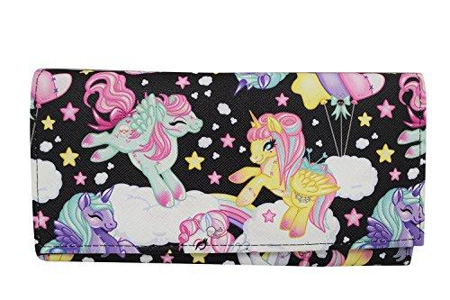 (LiquorBrand Goth Loli Kawaii Rainbow Pegasus Unicorns Pony Bi-Fold clutch Wallet)
