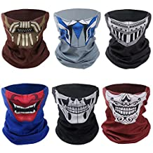 Bundle Monster 6pc Solid Color With Print Half Face Graphic Seamless Tube Mask