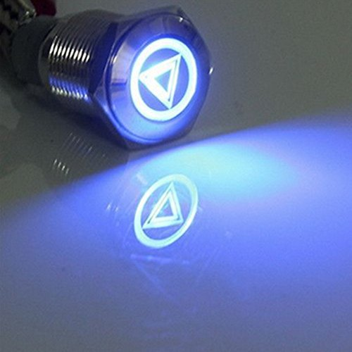 (Etopars 12V Car Blue LED Light Emergency Hazard Warning Push Button Metal Toggle Switch 16mm)