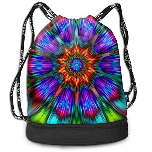 Swiming Travel School Beam Backpack Mandala Trippy Tie Dye Beam Bag Basketball, Volleyball, Baseball Rucksack For Boys Teens Youth Sports & Workout Gear