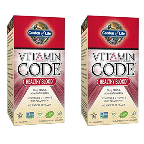 Vitamin Code Healthy Blood with Non-Binding Iron and Vitamins B & C to Promote Absorption (60 Vegan Caps) Pack of 2