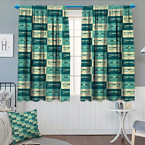 - Chaneyhouse Indie Room Darkening Curtains Pattern with Eyeglasses in Vintage Style Hipster Cool Collection Customized Curtains 55
