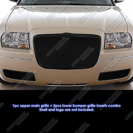 APS Premium Stainless Steel Black Mesh Grille Combo Compatible with 2005-2010 300C with Fog Light N19-H24877R