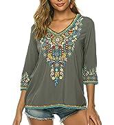 Higustar Women Embroidery Boho Shirt 3/4 Sleeve Mexican Bohemian Tops Tunic Blouse
