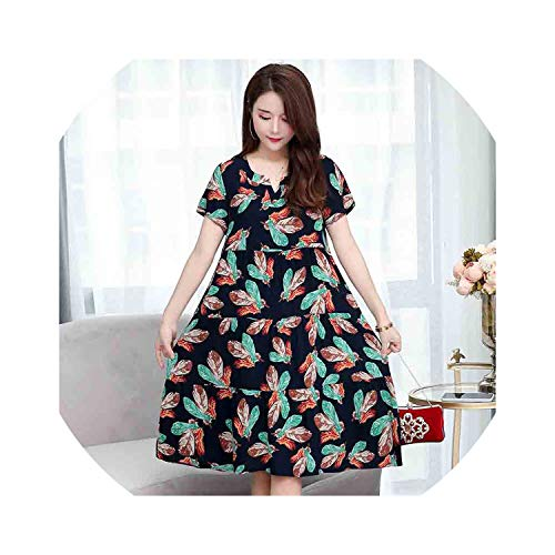 Summer Dot Dress Vestido Slim Loose V-Neck Casual Women Clothing Cotton Patchwork Vestidos Dresses Plus Size,Color 21,XL ()