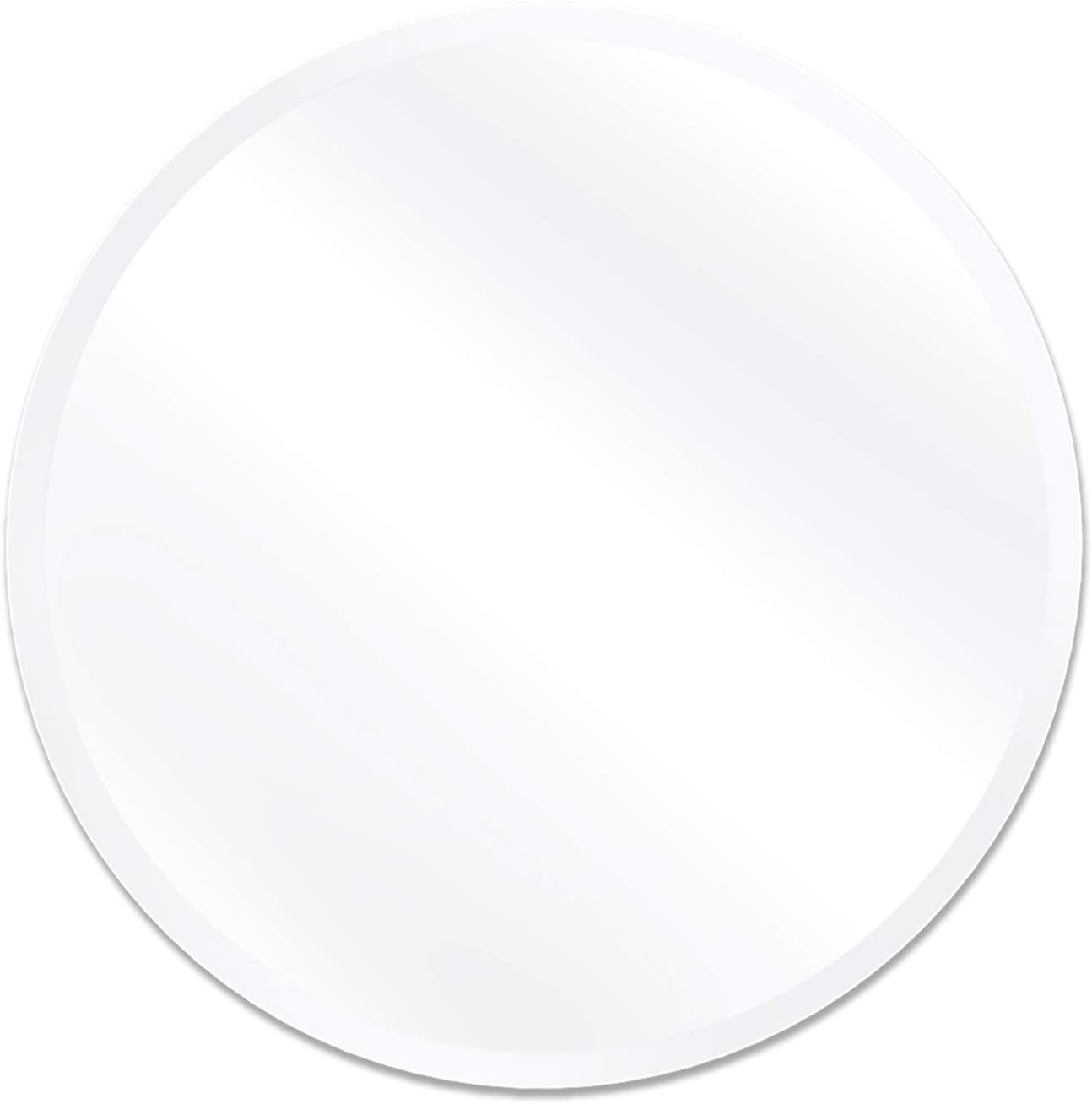 USHOWER 30-Inch Frameless Round Wall Mirror, Large Decor Circle Mirror for Bathroom, Vanity, Bedroom, 1