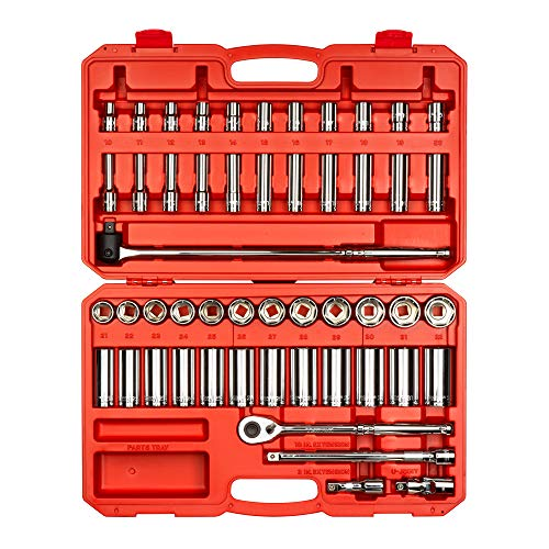 TEKTON 1/2 Inch Drive 6-Point Socket & Ratchet Set, 52-Piece (10-32 mm) | SKT25201