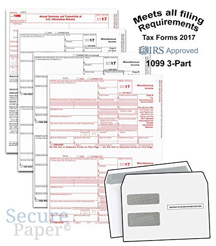 Complete Laser 1099 Misc Tax Form set And 1096 - Kit For 50 Vendors ~3-Part~ All 1099 Forms with Self-Seal Envelopes in Value Pack | 1099 Misc 2017