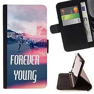 Dragon Case- Caja de la carpeta del caso en folio de cuero del tirš®n de la cubierta protectora Shell FOR LG OPTIMUS L90- Forever Young