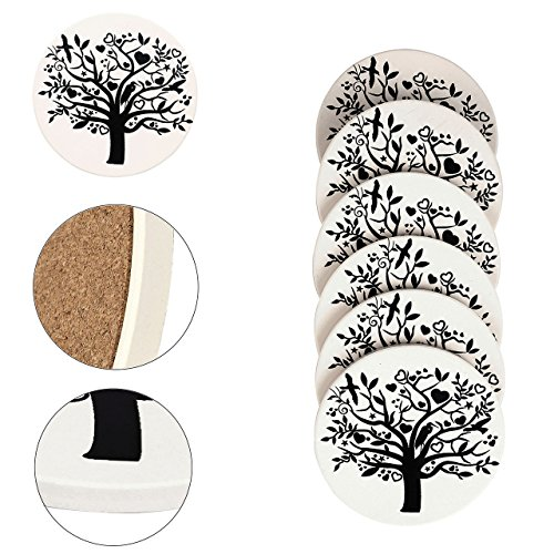 Absorbent Drink Coaster,Yoption Set of 6 Absorbent Tree of Life Coaster with Cork Backing for Drinks,Desktop Protection Prevent Furniture Damage,Table Decorations Cup Mat Holder (Tree of Life, ()