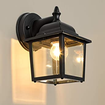 Lpinye Outdoor Wall Light Fixtures Black Exterior Wall Lantern Waterproof Simple Modern Porch Lights Wall Mount With Clear Glass Shade Wall Lamp Wall Lights Amazon Canada