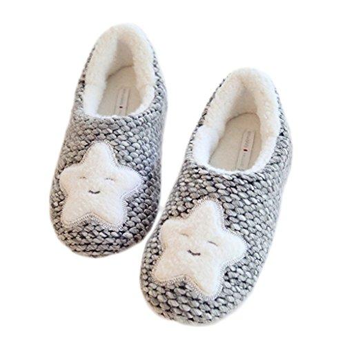 Fortuning's JDS Le donne delle ragazze delle signore Accogliente maglieria Velluto casa Calzature della stella della peluche grigio confortevole Flatform avvolgere pantofole