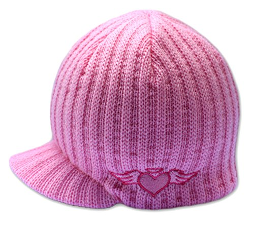 (Born to Love - Baby Girl Pink Rib Visor Beanie with Embroidery Baby Hat (S (12-24 Months))