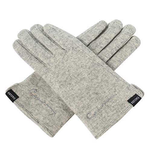 (CACUSS Women's Winter Wool Knit Gloves Touchscreen Texting Finger Tips with Warm Fleece Lining (Light gray))