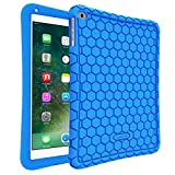 ipad 1 cover blue - Fintie iPad 9.7 2018 2017 / iPad Air 2 / iPad Air Case - [Honey Comb Series] Light Weight Anti Slip Kids Friendly Shock Proof Silicone Protective Cover for iPad 6th / 5th Gen, iPad Air 1 2, Blue