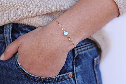 Opal Beaded Bracelet Simple Bracelet Everyday Bracelet Gold, Rose Gold, Sterling Silver Gift For Her ()