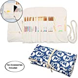 Teamoy Knitting Needles Holder Case(up to 11 Inches), Cotton Canvas Rolling Organizer for Straight and Circular Knitting Needles, Crochet Hooks and Accessories, Sheep - NO Accessories Included