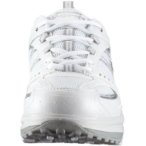 Skechers Womens Shape Up Motivazione Fitness Allenarsi Sneaker Bianco Argento