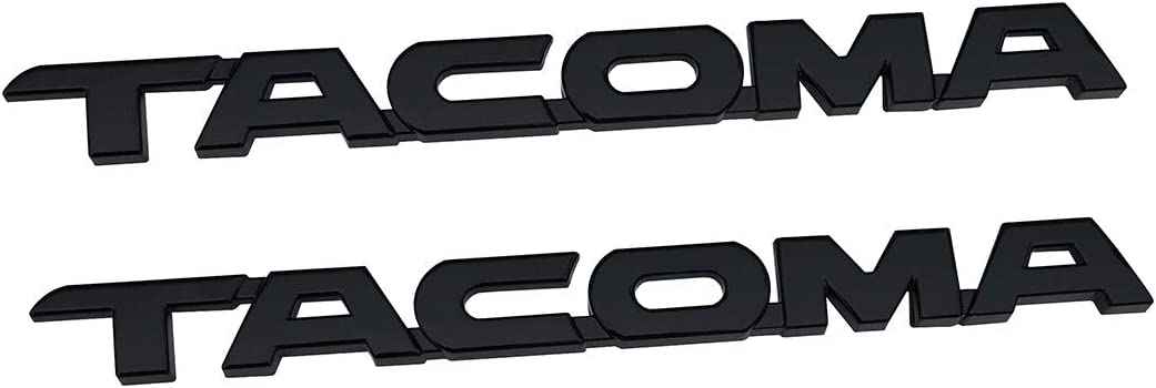 Glossy black 2Pcs TACOMA Nameplate V6 SR5 Letter Emblem 3D Badge Replacement for Tacoma 2005-2015 Door Tailgate Decals Sticker