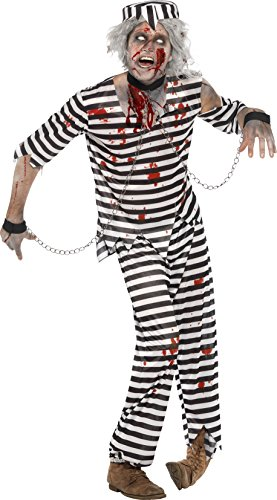 Convict Costume Uk (Smiffys Men's Zombie Convict Costume)