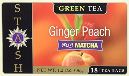 Stash Tea Ginger Peach Green Tea with Matcha, 18 Count (Ginger Peach Green Tea)