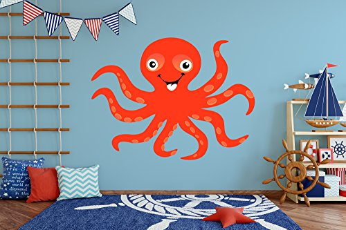 Octopus Wall Decal - Kids Room Decor - Nursery Mural Sticker (30'' tall x 40'' wide) by American Sign Letters