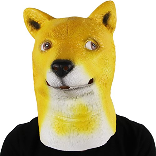 Waylike Funny Doge Meme Head Mask Latex Dog Animal Mask Halloween Cosplay Party