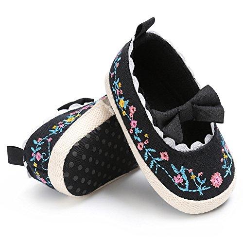 Pueri Zapatos del bebé Zapatos de las niñas de la primavera y el verano Para los primeros pasos Zapaticos agradables Negro