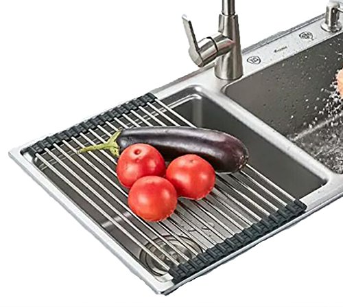 (QIN.J.FANG Rollable Stainless Steel Kitchen Sink Drying Rack Drain For Dish Fruits Vegetables (Black),4222Cm(11Tubes))