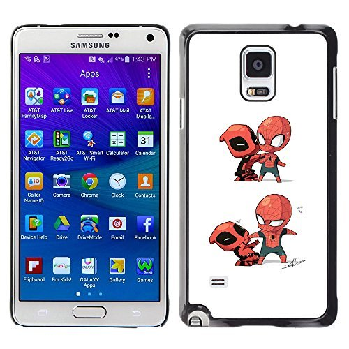 A-type Colorful Printed Hard Protective Back Case Cover Shell Skin for Samsung Galaxy Note 4 IV / SM-N910F / SM-N910K / SM-N910C / SM-N910W8 / SM-N910U / SM-N910G ( Superhero Villain Fight Spider Costume (Superheroes Villains Costumes)