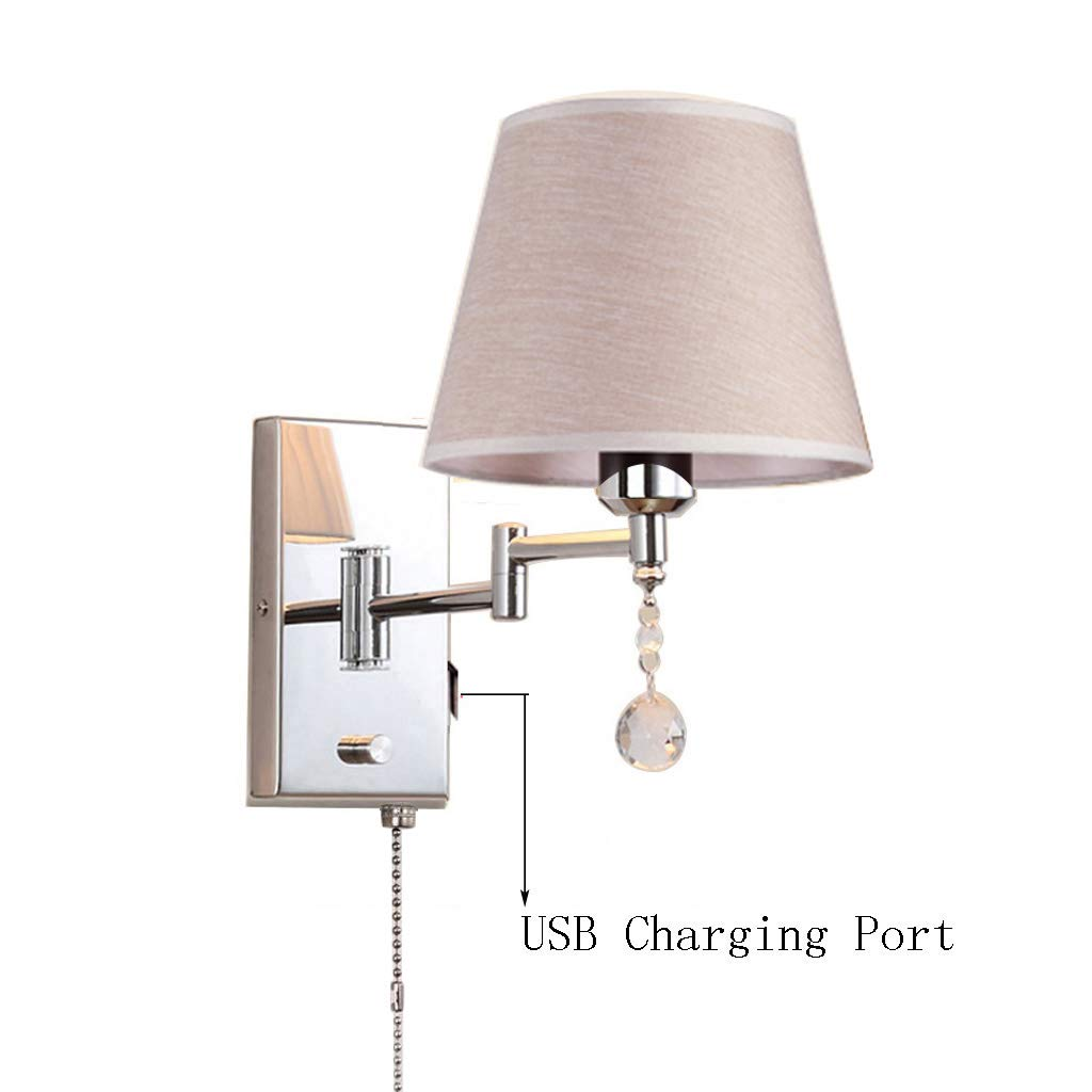USB Ladeanschluss Wandleuchte mit Zugkette Schalter lösen Schwenkarm Nacht Wohnzimmer Metall + Tuch Wandleuchte (Größe   30cm×22cm)