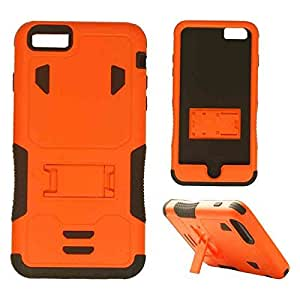 Cell Armor Novelty Case Apple Iphone 6 Plus Hybrid Case Locking Kick Stand Cover (Black, Orange) AT&T, T-Mobile, Sprint, Verizon, Boost Mobile, U.S Cellular, Cricket by runtopwell