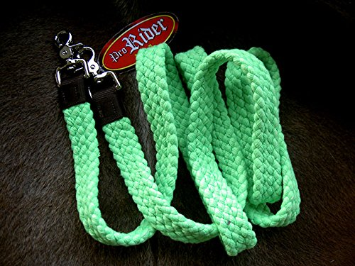 Tack Reins (ProRider Roping Knotted Horse Tack Western Barrel Reins Cotton Braided Romal Lime Green 60761)