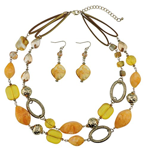 Bocar 2 Strand Statement Choker Shell Necklace and Earring Set for Women Gift (NK-10370-yellow)