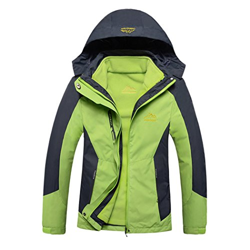 Modern Fantasy Womens Outdoor 3 in 1 Detachable Warm Inside Multifunction Jacket Size US Light Green - Only Clothing Locator Store