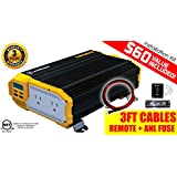 KRIËGER® 1100 Watt 12V Power Inverter Dual 110V AC outlets, Installation kit included, Automotive back up power supply for Blenders, vacuums, power tools and more. MET approved according to UL and CSA standards.