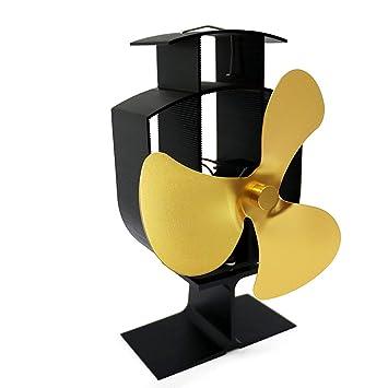 Ventilador de chimenea, NBWS estufa de leña estufa ventilador estufa estufa estufa funcionamiento silencioso 3 aspas de oro: Amazon.es: Bricolaje y ...