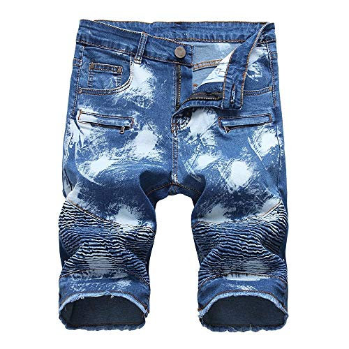 Wadonerful Men's Fashion Washed Moto Biker Ripped Cropped Zipper Jean Shorts Classic Fit Perfect Denim Short