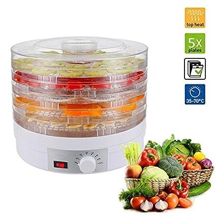 5 bandejas regulable desmontable Deshidratador de alimentos Desecador para frutas y verduras 245w cable de 1.1