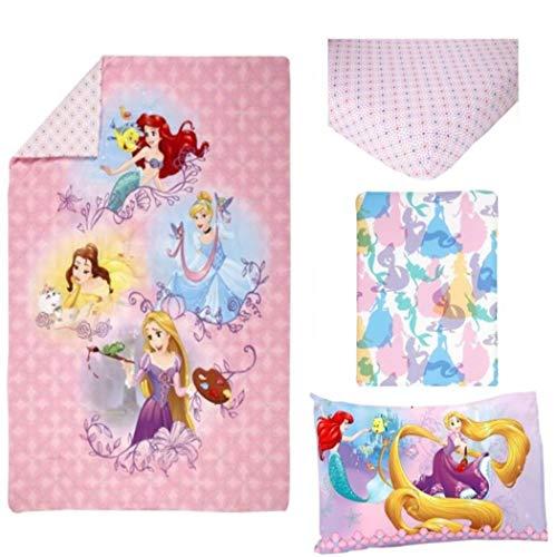 TN 4 Piece Pink Princess Toddler Bedding, Blue Disney Prince