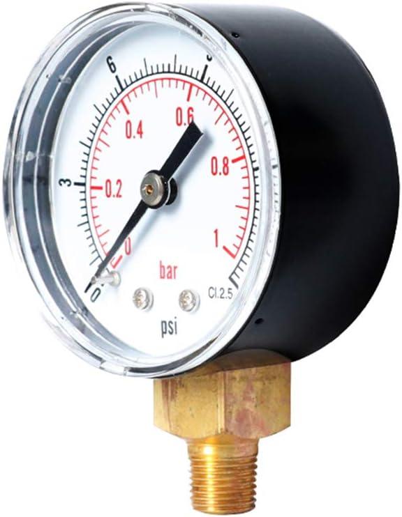siwetg Pressure Gauge 52 mm Dial 1//8 BSPT Vertical 0//15,30,60,100,160,300 PSI /& Bar Bottom Mount 100
