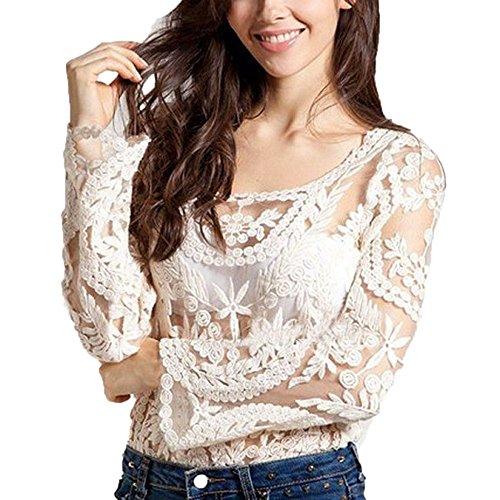 Mangotree Damen Häkelarbeit Spitzenbluse Bluse Tops Sheer T Shirt