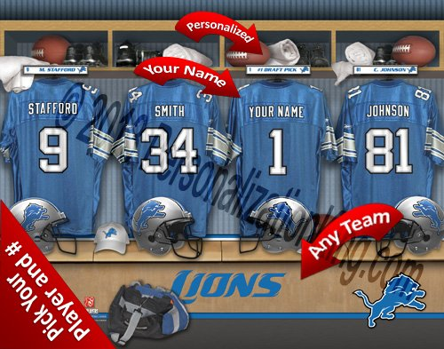 Detroit Lions Team Locker Room Clubhouse Personlized Officially Licensed NFL Photo Print (Detroit Lions Nfl Locker Room)