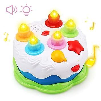 Amy&Benton Juguete de cumpleaños de la Torta de los niños para niños con Contar Velas, Juguetes de simulación Musical para niños de 1-5 años de Edad
