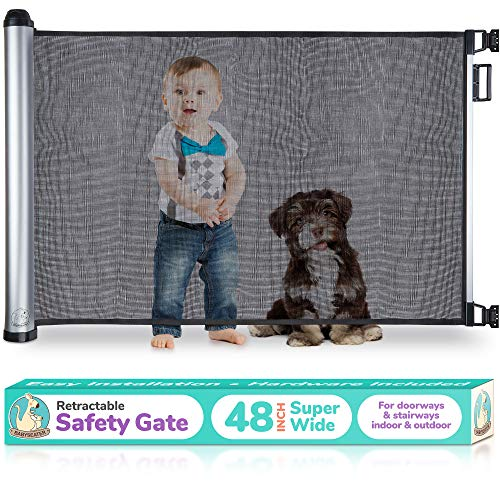 2019 New Retractable Baby Gate – Extra Wide Baby Safety Gate and Pet Gate for Stairs, Doors, and More – Mesh Baby Gate with Easy Latch and Flexible Design Fits Most Spaces