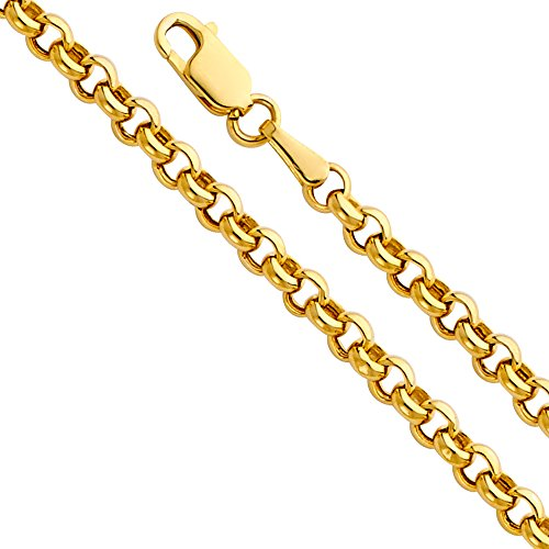 - 14k Yellow Gold Hollow Men's 3.5mm Fancy Rolo Chain Necklace with Lobster Claw Clasp - 20